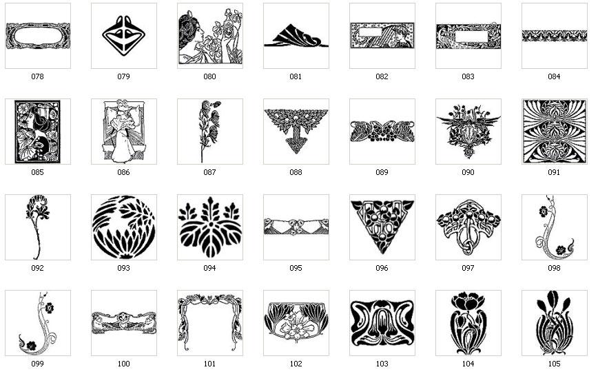 art nouveau motifs and images. Black Bedroom Furniture Sets. Home Design Ideas