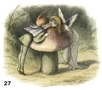 Fairies kissing over toadstool