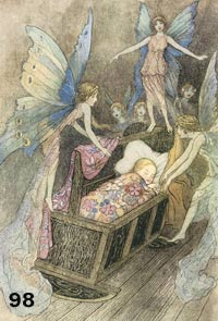 Fairies over baby in crib