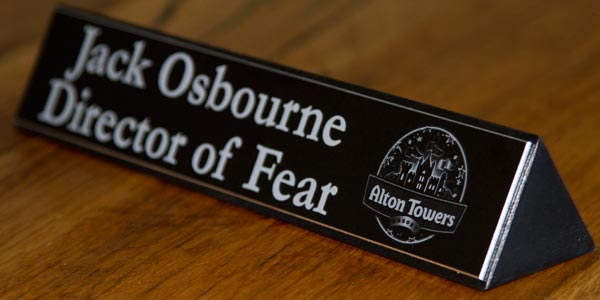 Desk Name Plate For Alton Towers