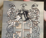 Engraved Brass Family Crest or Coat of Arms