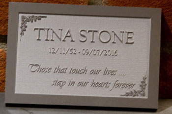 Corian memorial plaques with raised letters