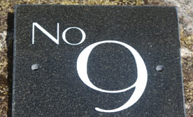 Granite house number signs in lots of different granites
