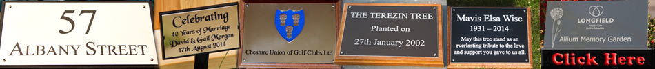 A range of engraved plaques