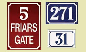 French style door numbers in five colours