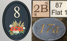 Large selection of house number signs