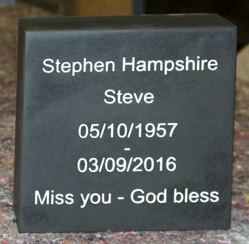 Small thick slate memorial