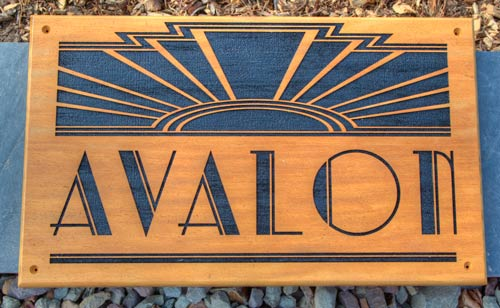 Art Deco style wooden sign made in Opepe timber