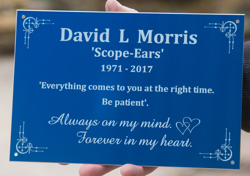 Blue anodised aluminium memorial plaque