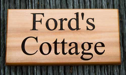 Wooden sign made from red cedar