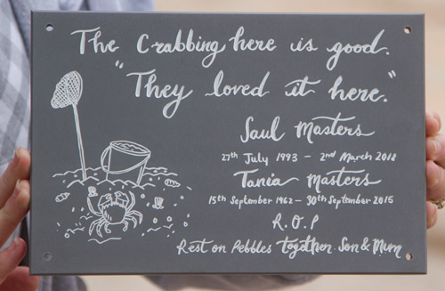 Engraved slate corian memorial plaque