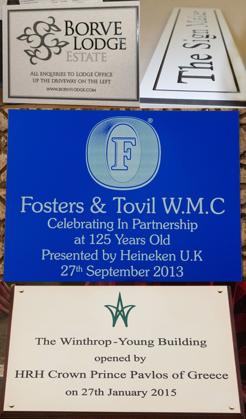 Lots of engraved plaques in a variety of materials