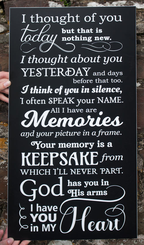 Black and white acrylic laminate memorial words - 1909.SE.029