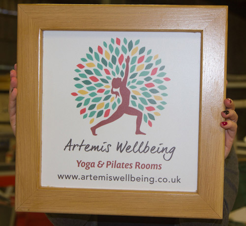 Lovely full colour sign surrounded by an oak frame