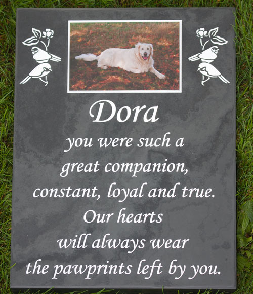 Full colour plaque inset into slate memorial.