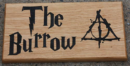 Wooden Home Sign with Harry Potter font