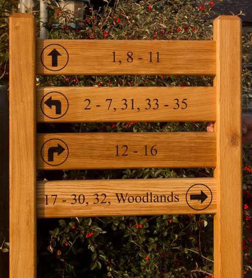 Wooden ladder sign treated with Devon Oil