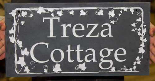 Slate house sign with ivy leaf border