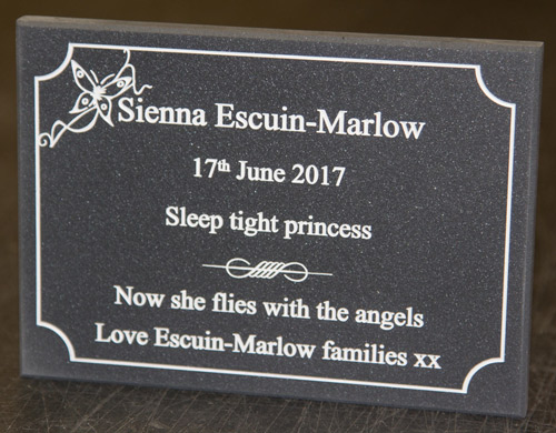 Engraved Corian Memorial Plaque