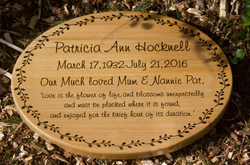 Oval Oak Memorial Plaque
