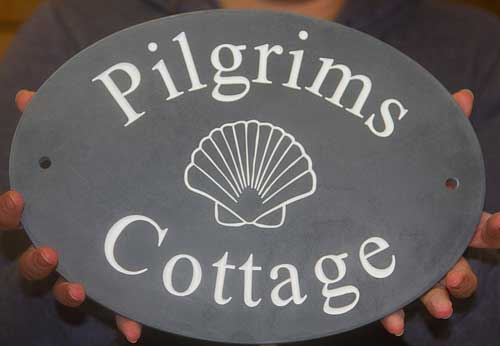Large Slate House Sign with gold lettering