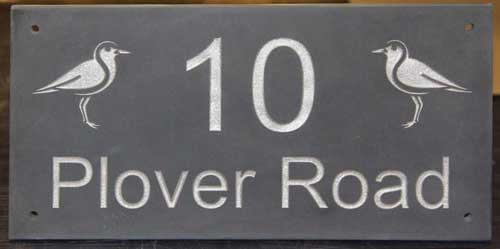 Slate Address Sign with silver lettering