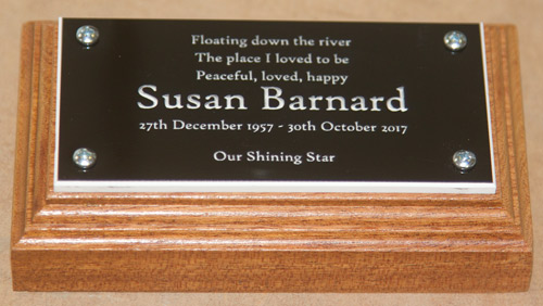 Tiny memorial plaque