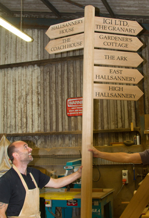 Wooden finger posts for directional signs