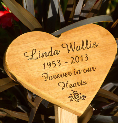 Iroko wood heart shaped plaque
