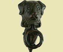 Dog door knocker 160mm in length handsome cast iron dog door knocker