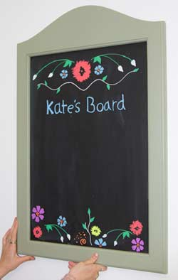 Wooden framed blackboard with a painted framed and painted panel