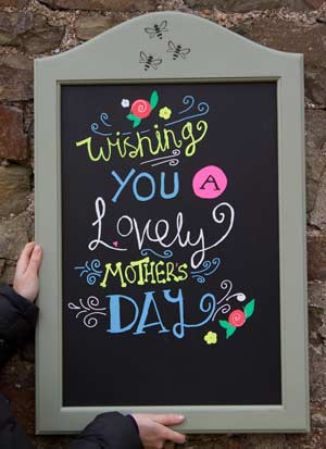 Painted chalkboard personalised with three bees