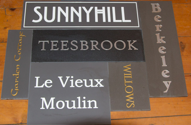 Engraved Corian House Signs