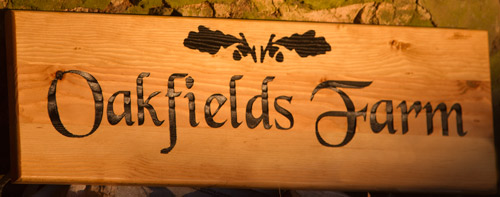 Farm Sign in Douglas Fir  Font Black Chhancery  ref 1311.LW.054