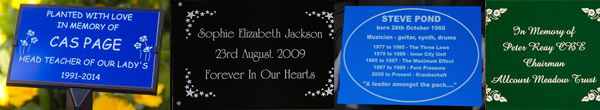 Anodised aluminium plaques for memorials and other maintenance free plaques