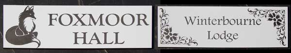 Engraved house signs and information plaques