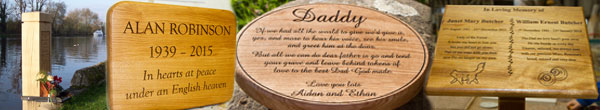 Wooden memorials, memorial plaques, wooden headstones