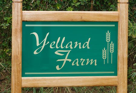 Oak framed farm sign