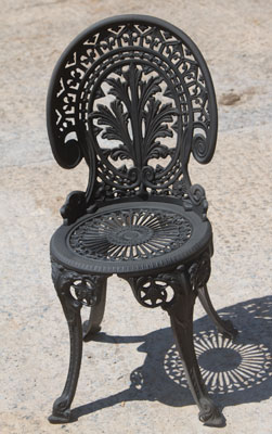 Sand blasted chair painted black