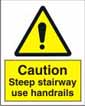 Caution Steep Stairway Use Handrails
