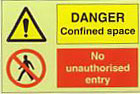 Danger Confined Space No Unauthorised Entry