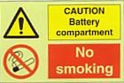 Caution Battery Compartment No Smoking