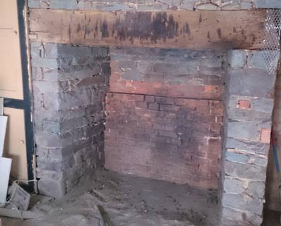 Sand blasted fireplace
