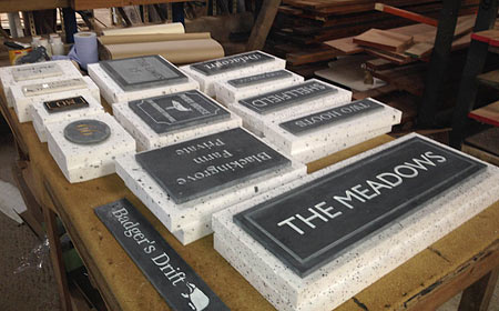 Slate signs ready for packing