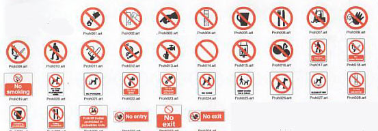 prohibit symbols fro signs