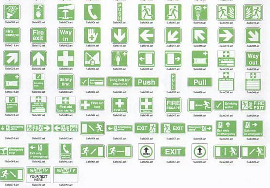 Safety symbols for use on signs