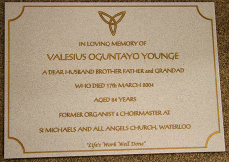 Gold Lettering On Engraved Plaque