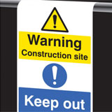 Roll top aluminium Keep Out Sign - hook over scaffolding