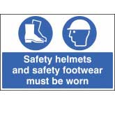 Mandatory Sign - Safety helmets and safety footwear must be worn