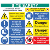 PVC Site Safety Sign Board 1200 x 1000mm